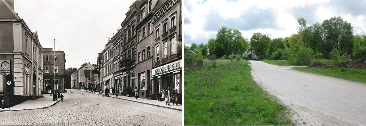 Вид на Марктплатц и Банхофштрассе. Фото 1937 года и современное состояние.