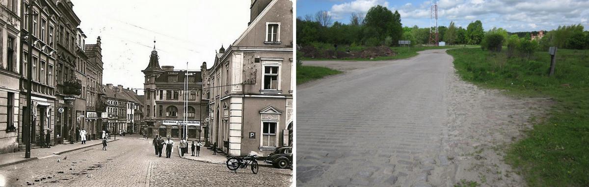 Вид на Марктплатц и Бродбанкштрассе. Фото 1937 года и современное состояние.